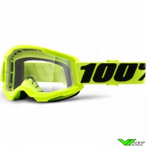 100% Strata 2 Fluo Yellow Motocross Goggle - Clear Lens