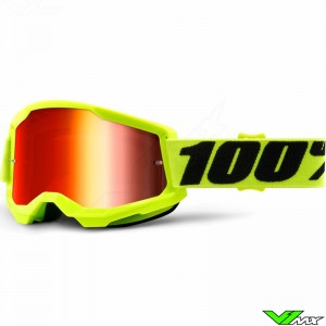 100% Strata 2 Fluo Yellow Motocross Goggle - Red Mirror Lens