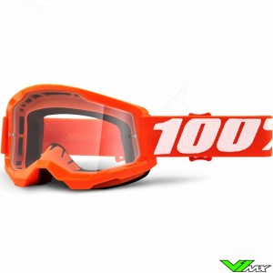 100% Strata 2 Orange Motocross Goggle - Clear Lens