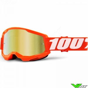 100% Strata 2 Orange Motocross Goggle - Gold Mirror Lens