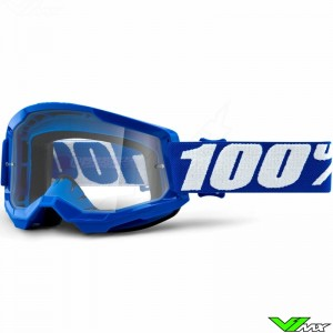 100% Strata 2 Blue Motocross Goggle - Clear Lens