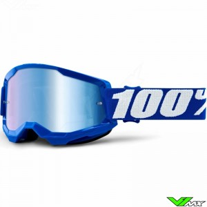 100% Strata 2 Blauw Crossbril - Blauwe spiegel lens