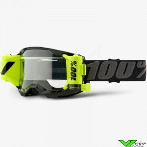 100% Strata 2 Forecast Motocross Goggle with Roll-off - Black