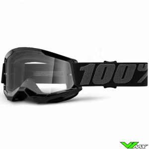 100% Strata 2 Youth Black Youth Motocross Goggle - Clear Lens
