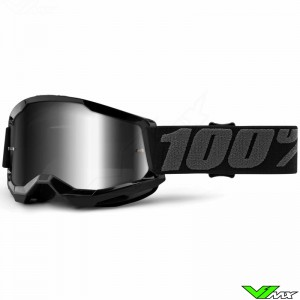100% Strata 2 Youth Black Youth Motocross Goggle - Silver Mirror Lens