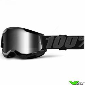 100% Strata 2 Youth Zwart Kinder Crossbril - Zilver spiegel lens