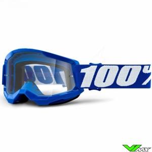 100% Strata 2 Youth Blauw Kinder Crossbril - Clear lens