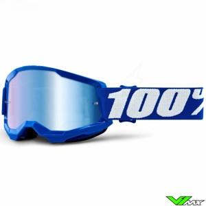 100% Strata 2 Youth Blauw Kinder Crossbril - Blauwe spiegel lens