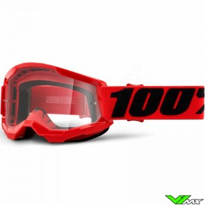 100% Strata 2 Youth Red Youth Motocross Goggle - Clear Lens