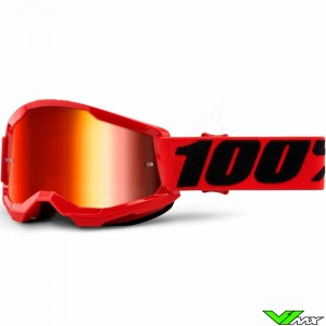 100% Strata 2 Youth Red Youth Motocross Goggle - Red Mirror Lens