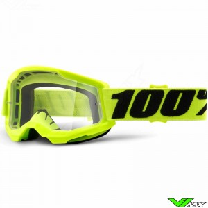 100% Strata 2 Youth Fluo Yellow Youth Motocross Goggle - Clear Lens