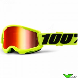 100% Strata 2 Youth Fluo Yellow Youth Motocross Goggle - Red Mirror Lens