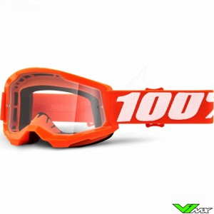 100% Strata 2 Youth Orange Youth Motocross Goggle - Clear Lens