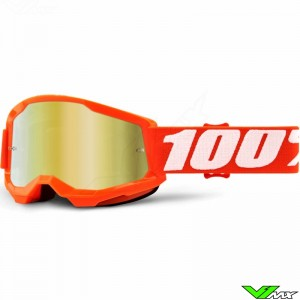 100% Strata 2 Youth Orange Youth Motocross Goggle - Gold Mirror Lens