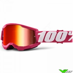 100% Strata 2 Youth Fletcher Youth Motocross Goggle - Red Mirror Lens