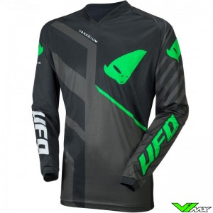 UFO Vanadium 2021 Youth Motocross Jersey - Black / Green / Grey