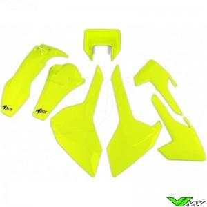 UFO Plastic Kit with Headlight Plastic Neon Yellow - Husqvarna FE250 FE350 FE450 FE501 TE150 TE250 TE300 TX125 TX300