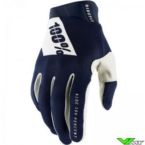 100% Ridefit 2021 Motocross Gloves - Navy / White