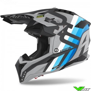 Airoh Aviator 3 Rainbow Motocross Helmet - Grey / Blue