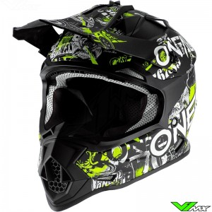 Oneal 2 Series Youth Attack Motocross Helmet - Black / Fluo Yellow