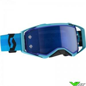 Scott Prospect Blue Chrome Lens Motocross Goggle - Blue / Black