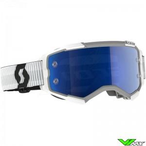 Scott Fury Blue Chrome Lens Motocross Goggle - White