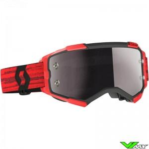 Scott Fury Silver Chrome Lens Motocross Goggle - Dark Red