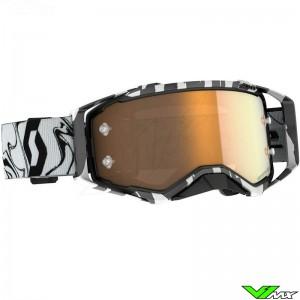 Scott Prospect Amplifier Gold Chrome Lens Motocross Goggle - Black / White