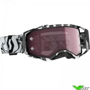 Scott Prospect Amplifier Rose Chrome Lens Motocross Goggle - Black / White