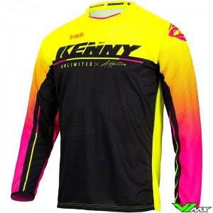Kenny Track Focus 2022 Youth Motocross Jersey - Fluo Yellow / Pink