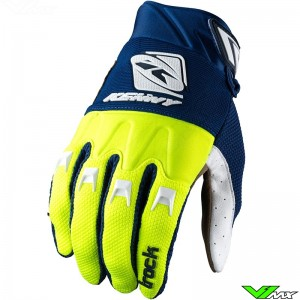 Kenny Track 2022 Motocross Gloves - Navy / Fluo Yellow