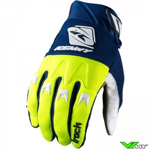 Kenny Track 2022 Youth Motocross Gloves - Navy / Fluo Yellow