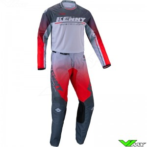 Kenny Track Focus 2022 Motocross Gear Combo - Grey / Red