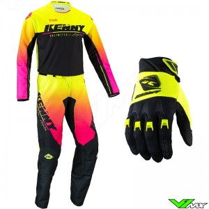 Kenny Track Focus 2022 Motocross Gear Combo - Fluo Yellow / Pink