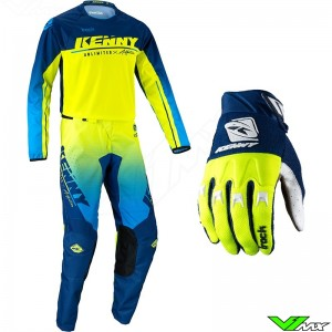 Kenny Track Focus 2022 Youth Motocross Gear Combo - Navy / Fluo Yellow