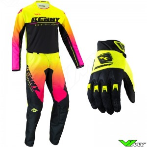 Kenny Track Focus 2022 Youth Motocross Gear Combo - Fluo Yellow / Pink