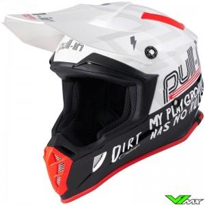 Pull In Dirt Motocross Helmet - White / Red