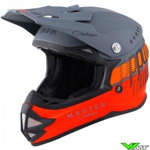 Pull In Master Youth Motocross Helmet - Grey / Orange / Red