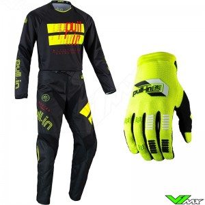 Pull In Challenger Master 2022 Motocross Gear Combo - Black / Fluo Yellow