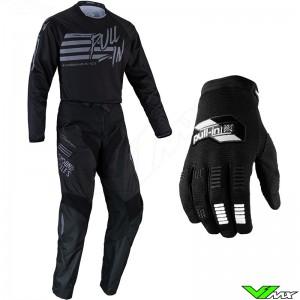 Pull In Challenger Original 2022 Motocross Gear Combo - Stripes / Black / Grey