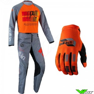 Pull In Challenger Master 2022 Youth Motocross Gear Combo - Grey / Orange