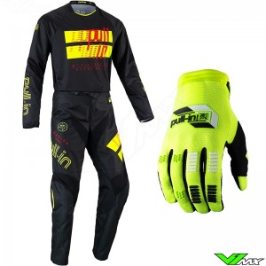 Pull In Challenger Master 2022 Youth Motocross Gear Combo - Black / Fluo Yellow