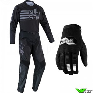 Pull In Challenger Original 2022 Youth Motocross Gear Combo - Stripes / Black / Grey
