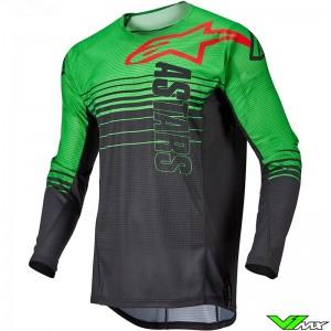 Alpinestars Techstar Phantom 2022 Motocross Jersey - Anthracite / Fluo Green