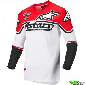 Alpinestars Racer Flagship 2022 Cross shirt - Wit / Fluo Rood / Zwart