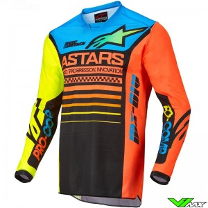 Alpinestars Racer Compass 2022 Motocross Jersey - Fluo Yellow / Coral / Blue
