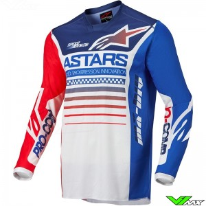 Alpinestars Racer Compass 2022 Motocross Jersey - White / Fluo Red / Blue