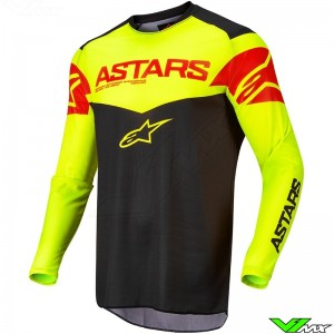 Alpinestars Fluid Tripple 2022 Motocross Jersey - Black / Fluo Yellow / Fluo Red