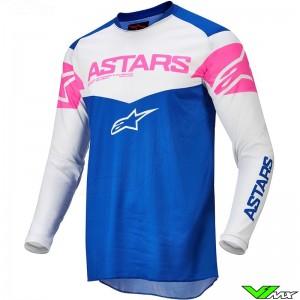 Alpinestars Fluid Tripple 2022 Motocross Jersey - Blue / Fluo Pink / White