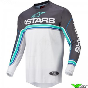 Alpinestars Fluid Speed 2022 Motocross Jersey - Anthracite / Blue